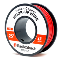 22 AWG Solid Copper Hook-Up Wire: Red  		 /  25'