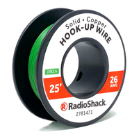 26 AWG Solid Copper Hook-Up Wire: Green  		 /  25'