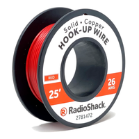 26 AWG Solid Copper Hook-Up Wire: Red  		 /  25'