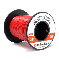 18 AWG Stranded Copper Hook-Up Wire: Red  		 /  25'