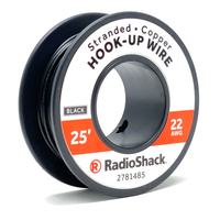 22 AWG Stranded Copper Hook-Up Wire: Black  		 /  25'