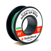 22 AWG Stranded Copper Hook-Up Wire: Green  		 /  25'