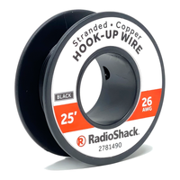 26 AWG Stranded Copper Hook-Up Wire: Black  		 /  25'