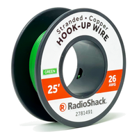 26 AWG Stranded Copper Hook-Up Wire: Green  		 /  25'