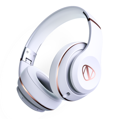 Ncredible2 Over Ear Wireless Bluetooth Headphones White Rose Gold