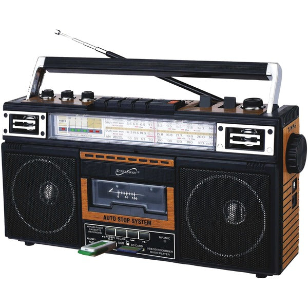 Supersonic Retro 4-Band Radio and Cassette Player with Bluetooth - Wood