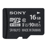 Sony UHS-I Class 10 microSD Card with SD Card Adapter: 16gb