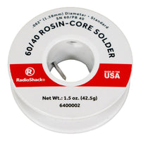 "SnPb 60/40 Rosin-Core Solder: 0.062""  /  1.5 Oz."