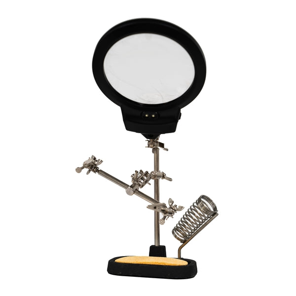 Helping Hands with Illuminated LED Magnifier and Soldering Iron Stand