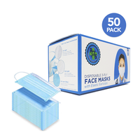 3-Layer Disposable Face Masks with Elastic Earloops (Box of 50)