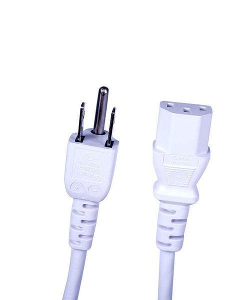 6-Foot 3-Wire Detachable AC Power Cord - White