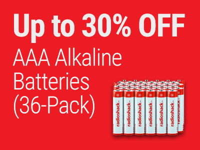 Up to 30% OFF RadioShack AAA Alkaline Batteries (36-Pack)