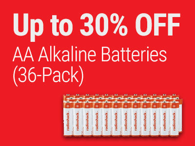 Up to 30% OFF RadioShack AA Alkaline Batteries (36-Pack)
