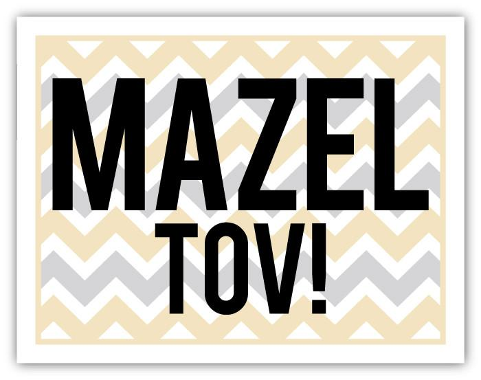 Chevron Gold Silver Mazel Card