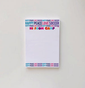 Happy Peace Love Soccer Camp Notepad