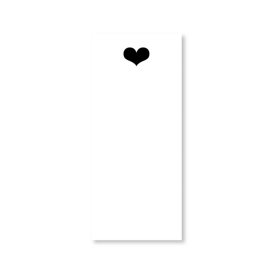 Black Heart Long Notepad