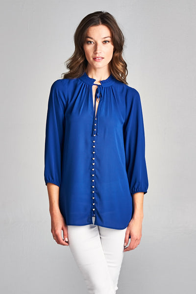 Royal Blue Button Down Top