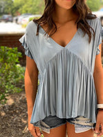 Blue Babydoll Top