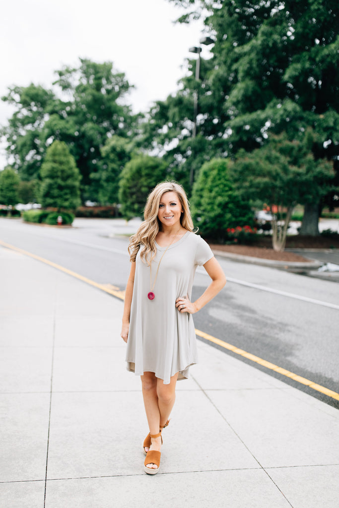 Taupe V-Neck Dress
