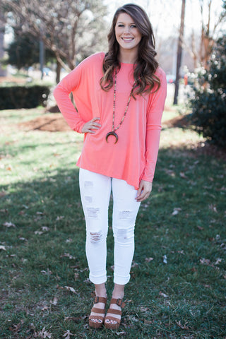 Dark Peach Long Sleeve Piko