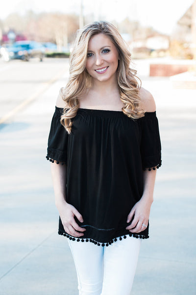 Black Off the Shoulder Pom Pom Top