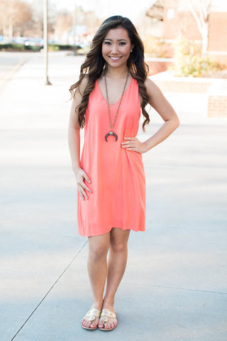 Coral Sleeveless Bow Back Dress