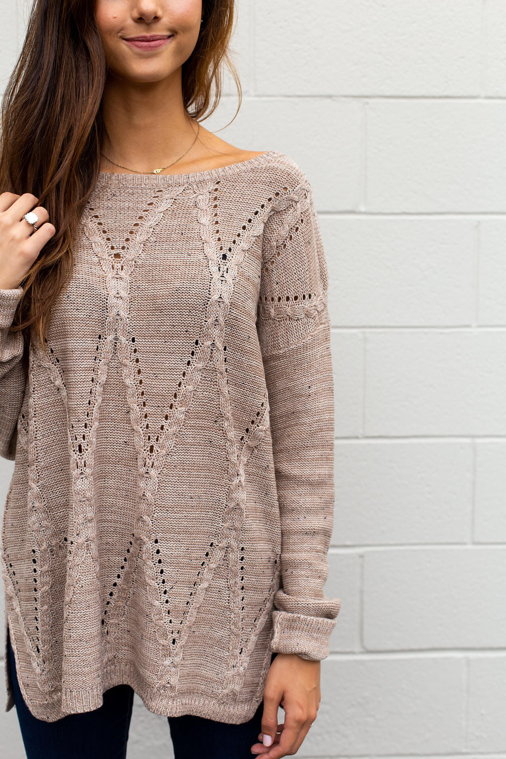 Mocha Diamond Knit Sweater
