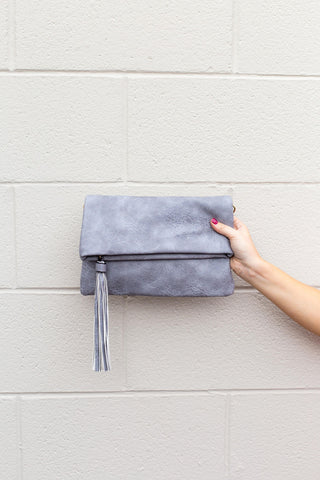 Grey Fold-Over Tassel Crossbody