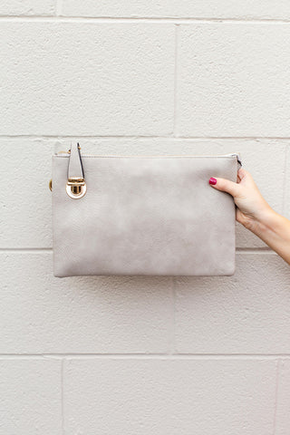 Taupe Large Clutch