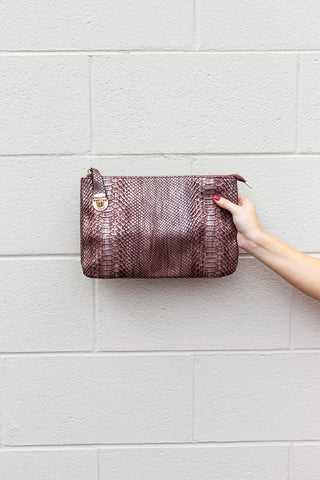 Snakeskin Large Clutch