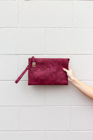 Burgundy Large Clutch