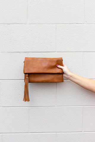 Cognac Fold-Over Tassel Crossbody