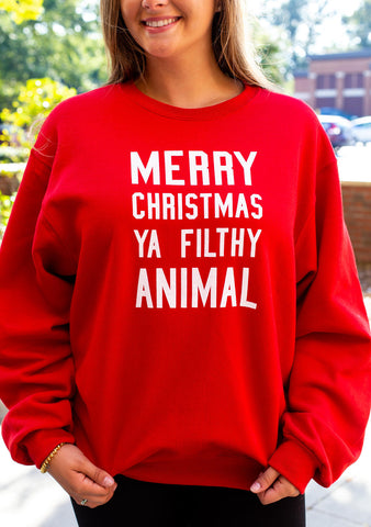 """Merry Christmas Ya Filthy Animal"" Sweatshirt"