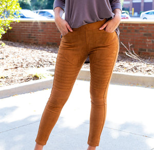 Cognac Suede Leggings