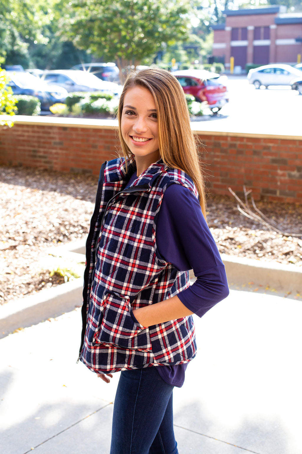 Red & Navy Plaid Vest