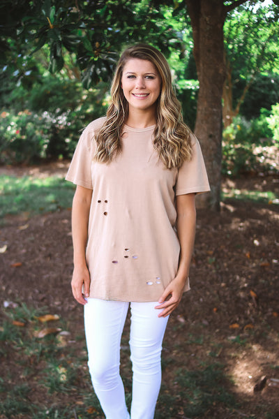 Mauve Short Sleeve Hole Shirt
