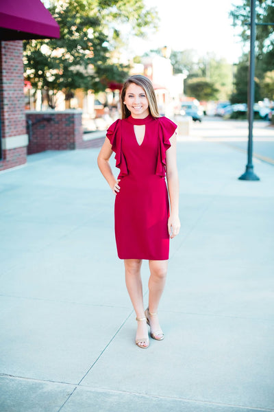 Wine Ruffle Sleeve Dress