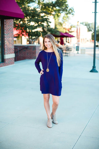 Eggplant Long Sleeve T-Shirt Dress