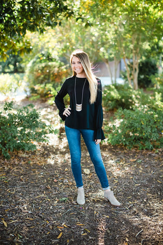 Black Boho Sleeve Top