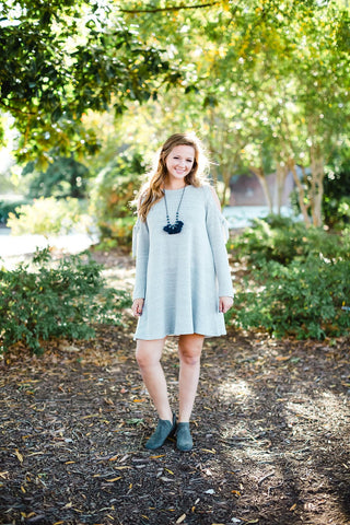 Grey Cold Shoulder Dress