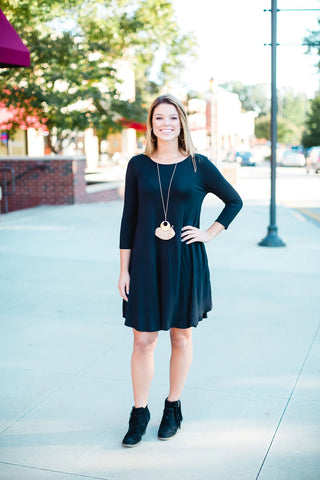 Black 3/4 Sleeve T-Shirt Dress