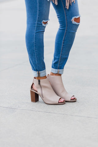 Taupe Anette Heel Booties