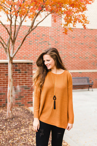 Copper Cold Shoulder Sweater