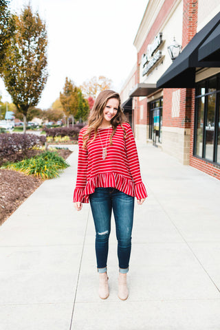 Rust Striped Ruffle Top