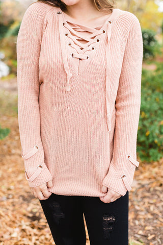 Dusty Rose Lace Up Chunky Sweater