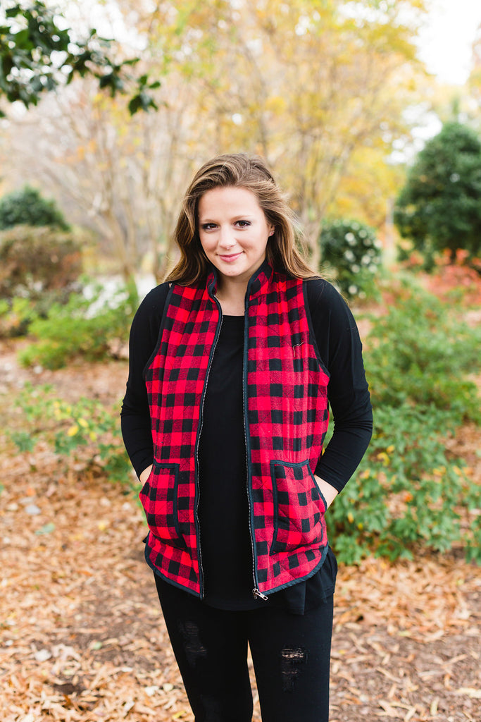Black & Red Lumberjack Vest