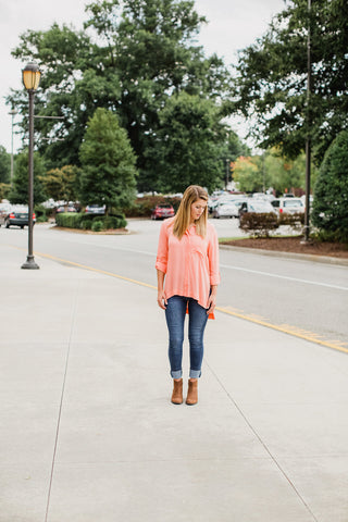 Bright Peach Button Down Top