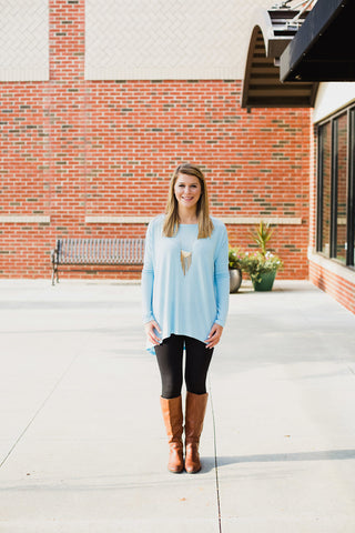 Light Blue Long Sleeve Top