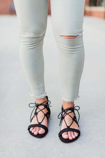 Black Lace Up Sandal