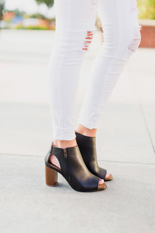 Black Anette Heel Booties